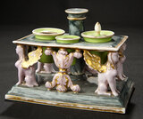 Italian Porcelain Miniature Table with Gargoyle Design 600/800