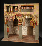 Collection of Carved Wooden Butcher Shop Victuals in Shop Setting 800/1000