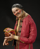 Neapolitan Merchant with Very Expressive Features Carrying Wooden Chest 1400/1600