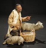 Neapolitan Kneeling Shepherd with Lambs and Hen in Basket 1400/1800