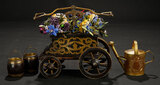 Miniature Flower Cart and Cast Metal Watering Can 700/900