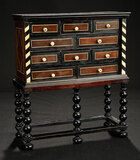 Early Ebony Cabinet with Bone Inlay and Pulls 800/1100
