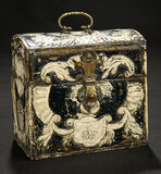 Early Carved Wooden Chest with Hammered Silver Hardware, Provenance 900/1100
