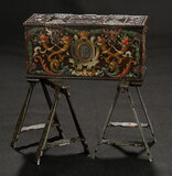 Continental Wooden Chest with Elaborate Carving on Iron Trestles 600/800