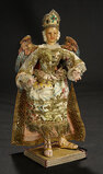 Continental Wax Angel with Polychromed Carved Wooden Wings 1100/1300