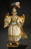 Continental Wax Angel with Gilded Carved Wooden Wings 1100/1300