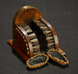 Rare Miniature Wooden Shoe Polisher with Attached Brushes 200/300