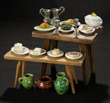 Miniature Wooden Table and Bench with Food and Tableware 400/500