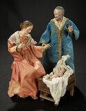 Three Neapolitan Figures Representing Mary, Joseph and Baby Jesus 1700/2100
