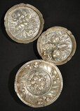 Three Silver Tableware with Rich Embossed Fruits and Flowers 400/500