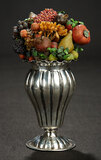Early Silver Urn-Shaped Vase with Paper Mache Fruits 200/300