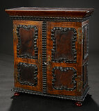 Early Continental Wooden Cabinet with Intricate Cast Lock and Secret Compartments 900/1200