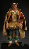 Rare Neapolitan Portrait of Traveling Man Attributed to Francesco Celebrano 4500/6500