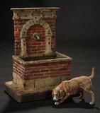 Neapolitan Wooden Miniature Fountain with Dog 400/500