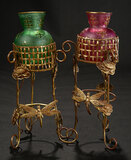 Pair, Glass Urns in Original Gilt Stands with Symbolic Figural Bees 600/800