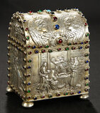 Silver Treasure Chest with Faux-Jewels and Embossed Scenes 400/600