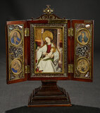 Mahogany Triptych with Elaborate Inlay Marquetry 800/1100