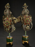 Pair, Metallic-Thread Jeweled Decorative Plants in Wooden Stand 600/900