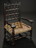 Early Carved Wooden Chair with Embossed Tapestry Seat 400/600