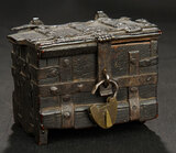 Early Wooden Chest with Thick Handcast Iron Straps and Hinging 600/900