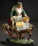 Neapolitan Woman in Folklore Costume with Mule on Original Wooden Base 1100/1300
