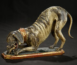 Early Carved Wooden Dog in Highly Stylized Manner 800/1100