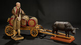 Neapolitan Peasant with Wheeled Wooden Wagon and Barrels 1100/1500