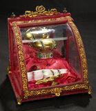 Gilt-Accented Velvet Vitrine with Jeweled Brass Crown 800/1100