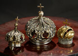 Three Miniature Silver and Brass Crowns 400/500