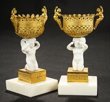 Pair, Continental Marble and Gold-Plated Urns 400/500