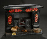 Early Marble Mantel with Wooden Built-In Stove and Copper Pots 900/1200