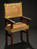 Wooden Framed Arm Chair with Silk Brocade Upholstery 400/500