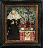 Continental Miniature Shadowbox Depicting Wax Nun in Vignette 400/500