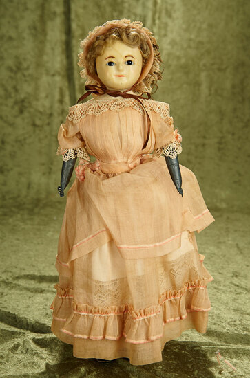"19"" English wax over paper mache lady in all original condition."