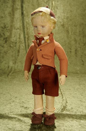 """16"""" Italian felt boy by Lenci in brown schoolboy attire."""