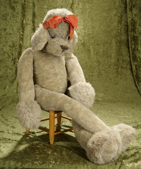 """34"""" Large Studio Steiff Dangling Gray Poodle Dog with button & glass eyes."""