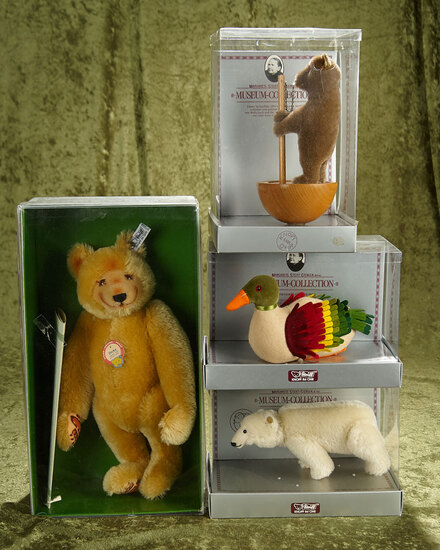 """3.5""""-13"""" Group of Steiff Museum replica animals in original boxes, Polar bear, Dicky, Roly Poly Bear"""