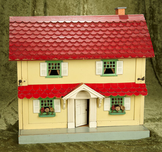 """19"""" Vintage wooden dollhouse by Schoenhut in near mint condition with furnishings."""