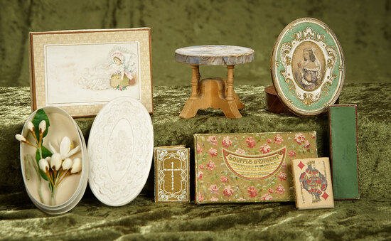 """2""""-5"""" Victorian decorative boxes and smalls great for poupee display or trousseau trunks."""