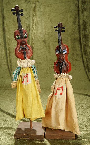 """17.5"""" Pair of vintage paper mache WPA """"Fiddlehead"""" hand puppets."""