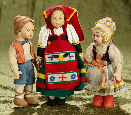 """8""""-9.5"""" Group of three small Italian felt dolls by Lenci with nice European outfits."""