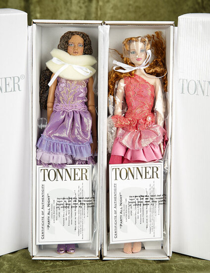 """15.5"""" Pair of limited edition """"Party All Night"""" girls, Cami and Jon by Robert Tonner, 2011 UFDC."""