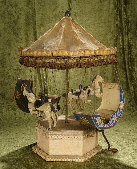 "26"" European folk art Merry Go Round Carousel with working clockwork mechanism."