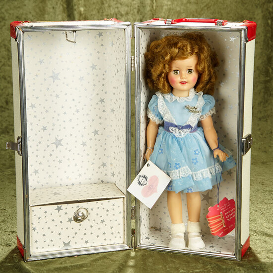 """14.5"""" Vintage 1950's vinyl Shirley Temple in near mint condition with original tags and trunk."""