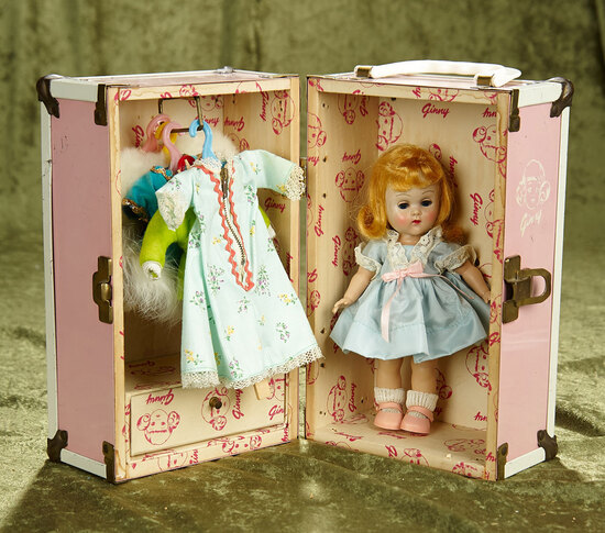 """10"""" Vintage hard plastic Ginny in trunk with clothes and accessories."""