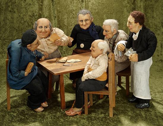 "20"" Vintage cloth tableau of ""Peasant Men Playing Cards"" by Bernard Ravca."