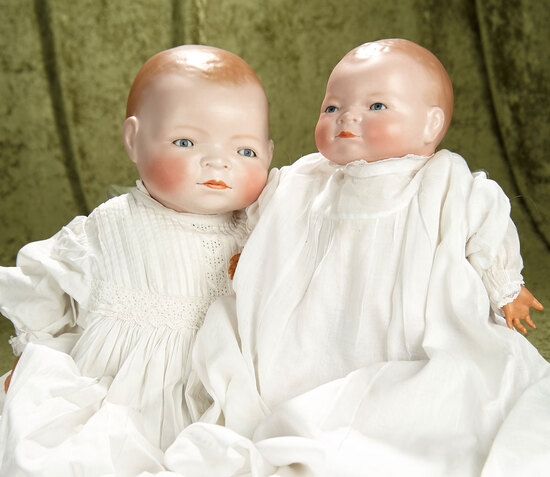 """12"""" &16"""" Pair of German bisque Bye-Lo Babies with excellent bisque and sleep eyes."""
