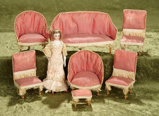 "6""l. sofa. Set, German miniature parlor set, rare striped upholstery, SH dollhouse doll. $600/800"