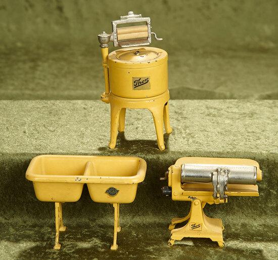 "5 1/2"" washing machine. American cast iron miniature laundry furnishings by Arcade. $500/700"