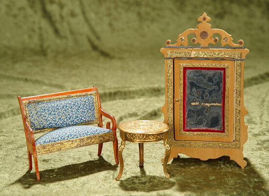 """8"""" armoire.  French wooden dollhouse furnishings and ormolu table. $400/600"""